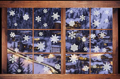 Iconikal Gel Cling Window Decorations, Translucent and Semi-Translucent Snowflakes, 60-Count