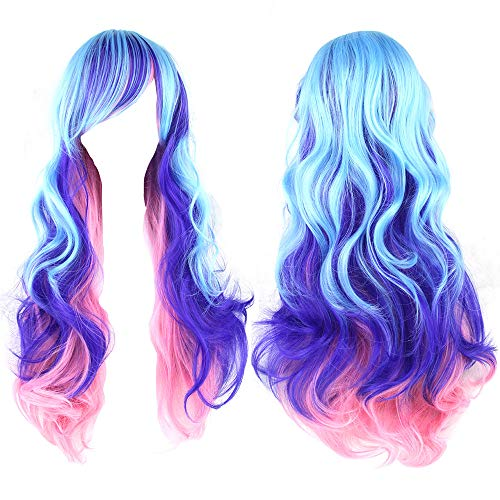 S-SSOY 27 ' Women 's Anime Cosplay Wigs Long Curly Wave Costume Ombre Pink Purple Blue Gradient Lolita Harajuku Style Colorful Wavy Hair Synthetic Halloween Party Wig with Bangs for Girl Women +Wig Cap, Jbs-03, 70cm