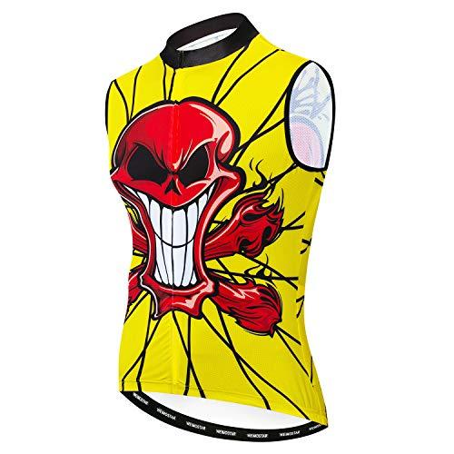 Weimostar Sleeveless Cycling Jersey Men Bike Vest Shirts Clothing Biking Bicycle Jacket Reflective Yellow Skull Size XL