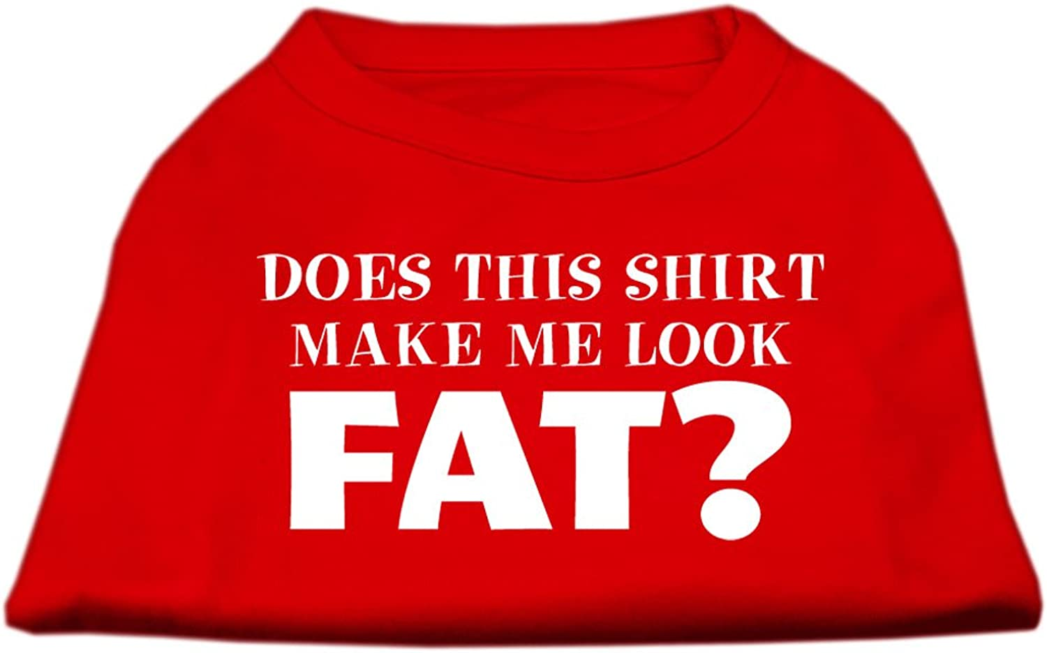 Mirage Pet Products 10Inch Does This Shirt Make Me Look Fat Screen Printed Shirt for Pets, Small, Red