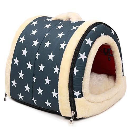 CHENNA El Plegado portátil se Puede Lavar la habitación de Mascotas de Lujo Suave Desmontable + tapetes de Peluche (Estrella Azul)