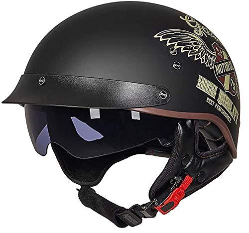 SJAPEX Medio Casco de Motocicleta para Hombres Mujeres con Visera Solar Anti Hebilla de Liberación Rápida Half Face Cycling Motorbike Open Face Helmet,Dot/ECE Aprobado. A,L=57~58cm