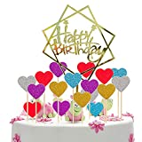 MOOKLIN Topper per Torte Happy Birthday, Decorazione per Torte e Cupcake con Cuore in Cinq...
