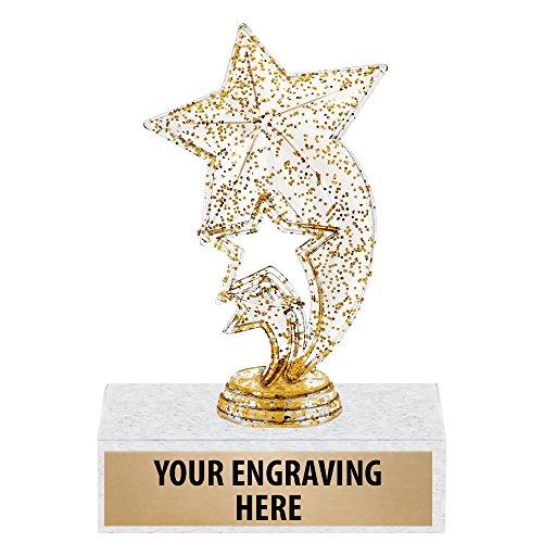 6' Gold Glitter Star Rocket Trophies - Custom Star Trophy Award Prime