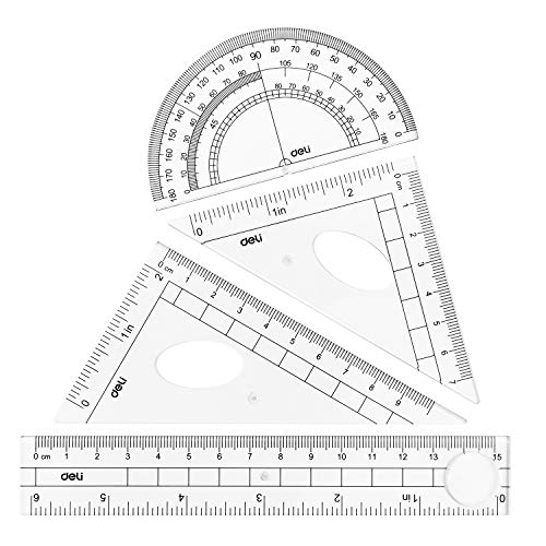 Meliya Math Geometry Set 7PCS Drawing Ruler Set Compass Protractors Square Set Students Exam Stationery Gifts Pink-5086, 7pcs