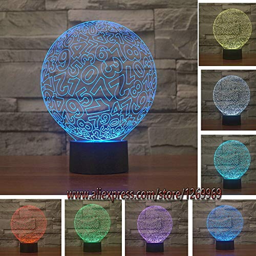 Nur 1 Stück Creative Digital Ball 3D Mess Nummer Runde LED Bunte Stimmung Touch Nachtlicht Kinder Geschenk Home Schlafzimmer Wohnzimmer Party