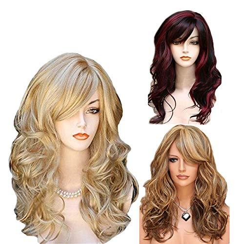Synthetische pruik Body Wave Zijscheiding Wig Long Medium Lengte Licht gouden Lichtbruin Wine Red synthetisch haar 65 inch Womens Party Benadrukt/Balayage Hair Midden-Part Blond Bourgogne # 8197321
