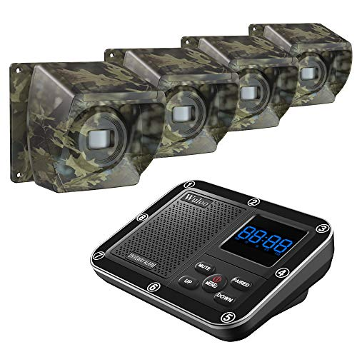 1800 Ft Wireless Outside Driveway Alarm Outdoor Motion Sensor & Detector Driveway Alert System, Rechargeable Battery/Weatherproof/Mute Mode/Clock and Alarm Functional (1&4-Camouflage)