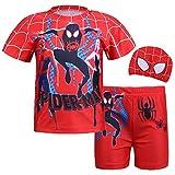 nacyvcos スパイダーマン: スパイダーバース Spider-Man: Into the Spider-Verse 子供用 コスチューム 男女共用 通気 ユニセックス 水泳パンツ セパレーツ水着 140