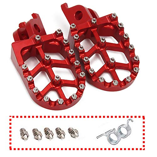JFG RACING Red Billet MX Wide Foot Pegs Pedals Rests For For CR125/250R 02-07/CRF150R 07-18 CRF250R 04-17/CRF250 X 04-17/CRF450R 02-18 CRF450RX 17-18 CRF450 X 05-17 CRF250L/M 12-17 CRF250RALLY