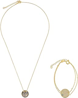 Alwan Silver (Gold Plated) Necklace and Bracelet Jewellery Set for Women - EE4651SETG