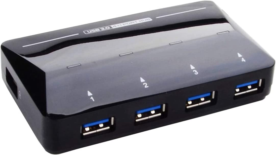 W·Z 4-Port USB 3.0 Super-Fast Data Hub Compatible with USB 2.0, 1.1 and 1 Extra USB Port to Fast Charging up