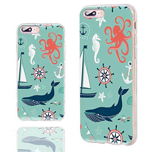 ChiChiChiC - Carcasa para iPhone 8 Plus, diseño de Pulpo con Ancla Marina y Ballena