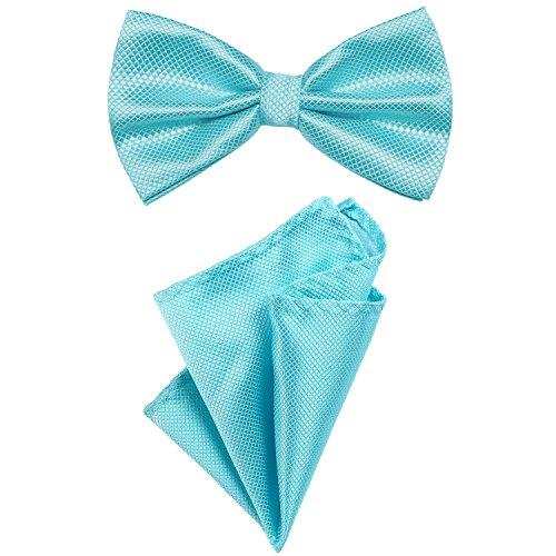 DonDon Set para hombres compuesto por un pañuelo y una pajarita a juego en color, unida y ajustable en tamaño