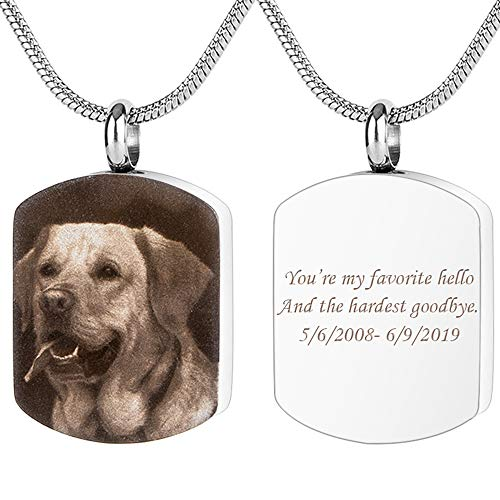 Bivei Personalized Urn Necklace for Ashes Engraving Photo & Text Cremation Jewelry Military Memorial Dog Tags Pendant for Humans/Pet(Silver Military Dog Tag - Black & White Picture)