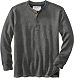 Legendary Whitetails Men's Standard Tough as Buck Double Layer Thermal Henley Shirt, Charcoal Heather, Large