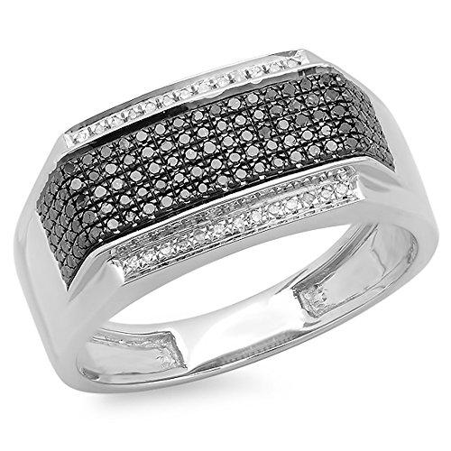 Anillo de plata de ley chapado en platino de 0,42 quilates con diamantes blancos y negros