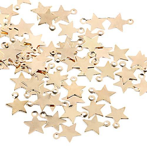 UFLF 100pcs Dijes Estrellas Colgantes Encantos Dorado Mini Colgantes Bisutería Accesorios Tibetana para Pulsera Collar DIY Pendientes Joyería 6 * 8mm