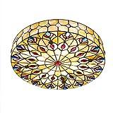 Lámpara de Techo Amarillo Tiffany Luz de Techo de Montaje Empotrado Colorida y Creativa Hecha a Mano Plafón Decoración para Dormitorio, Iluminacion de Techo de Interior E27 Base,40cm