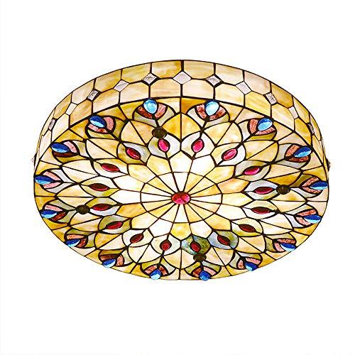 Lámpara de Techo Amarillo Tiffany Luz de Techo de Montaje Empotrado Colorida...
