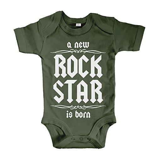 net-shirts Organic Baby Body mit A New Rock Star is Born Aufdruck Rock n Roll Heavy Metal Strampler Babybekleidung aus Bio-Baumwolle mit Zertifikat, Größe 0-3 Monate, Oliv