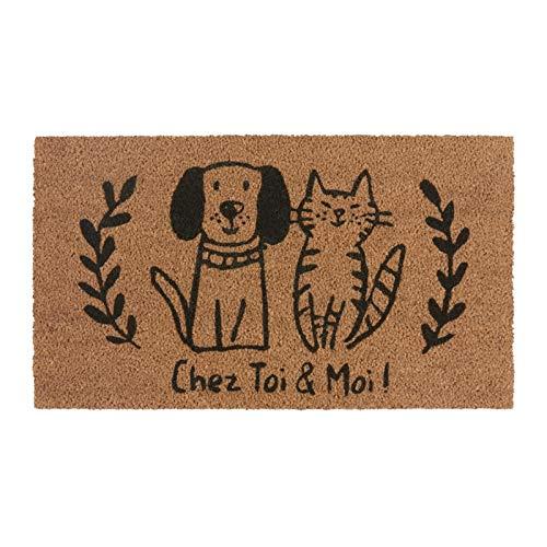 Derrière la porte - Felpudo (COCO/PVC, diseño de gato y perro