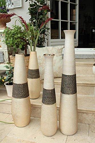 GILDE Keramik Bodenvase Mangari Champagner-Gold L = 16 x B = 16 x H = 80 cm