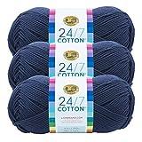 (3 Pack) Lion Brand Yarn 761-110 24-7 Cotton Yarn, Navy