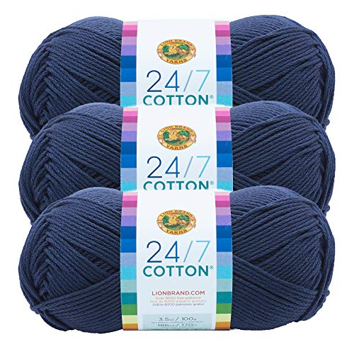 (3 Pack) Lion Brand Yarn 761-110 24-7 Cotton Yarn, Navy