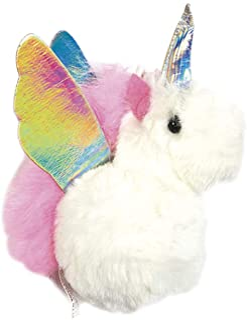 Unicorn Pegasus Furry Pom-Pom Decorative Purse and Backpack Clip Keychain Charm
