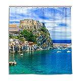 MyDaily Duschvorhang, Motiv: Italien Strand Stadt, 182,9 x 182,9 cm, wasserdicht, Polyester, Badezimmer-Dekoration mit Haken