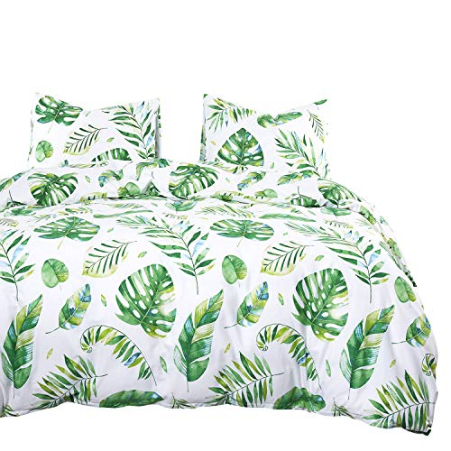 Wake In Cloud - Tree Leaves Comforter Set, 100% Cotton Fabric with Soft Microfiber Fill Bedding, Green Monstera Plant Banana Leaves Pattern Printed on White (3pcs, Twin Size)