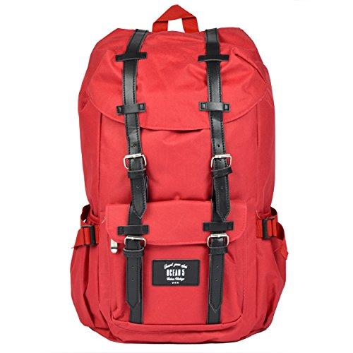 Großer Laptop-Rucksack für 17 Zoll, Damen und Herren, 22L Vintage Backpack - Montreal - lässiger Unisex Retro Tagesrucksack, Rot/hellgraue Streifen