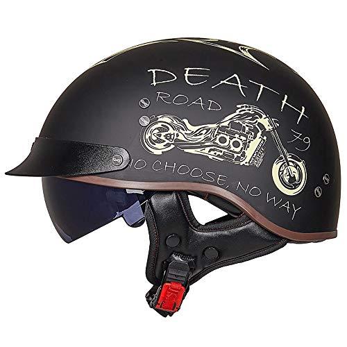 TKTTBD retrò Portatile Jet Casco Scodella,Adulto Moto Casco Bicicletta Cruiser Chopper Pilota Ciclomotore Harley Casco Aperto A Sgancio Rapido,omologato DOT/ECE
