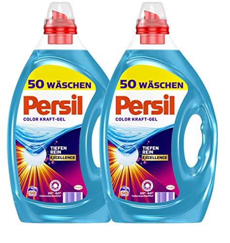 Persil Color Kraft-Gel 2er Pack Excellence, Flüssigwaschmittel mit Tiefenrein-Technologie 100 (2x50) Waschladungen