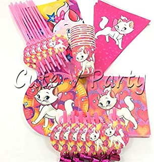Pink Party Plates 67pcs/lot Marie Cat Disposable Tableware Set Cartoon Pink Cat The Aristocats Birthday Baby Shower Cup Plate Decoration Supplies