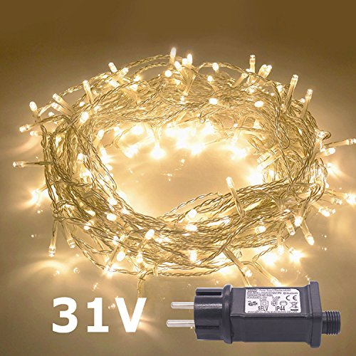 JMEXSUSS 200LED 82ft Indoor String Light Christmas Lights Fairy String Lights Plug in 8 Modes for Homes, Christmas Tree, Wedding Party, Bedroom, Indoor Wall Decoration (200LED, Warm White)