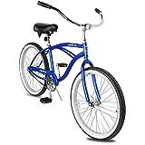 Micargi Pantera 24 Inch Men's Beach Cruiser Bike Hi-Ten Steel Frame City Bike Classic Outdoor Bicycle Multiple Colors (24' - Blue)