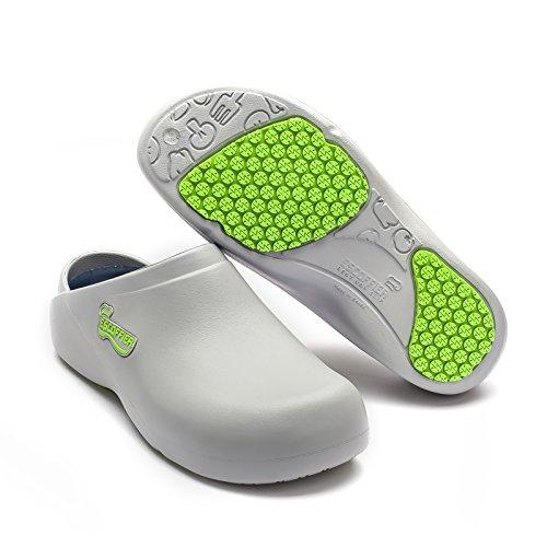ESCOFFIER Waterproof Slip Resistant Kitchen Chef Clog - Non Slip Work Mule Shoes for Men Women (ESM Gry 8)