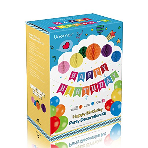 Unomor Birthday Decorations with Happy Birthday Banner, 6 Paper Honeycomb Balls, 30pcs Balloons in 7 Colors, 1 Balloon Pump for Birthday Party Supplies