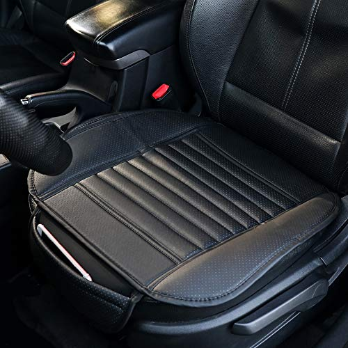 SmartSpec Seat Cushion Portable Car Seat Protector Front Seat Pads PU Leather Seat Cushions Black Auto Supplies