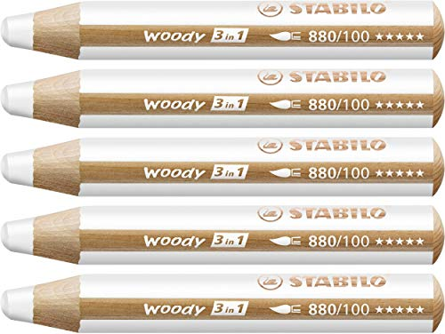 STABILO Woody 3 in 1 Multi Talent Pencil Crayon - White (Pack of 5)