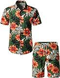 JOGAL Men's Flower Casual Button Down Short Sleeve Hawaiian Shirt Suits Small Green