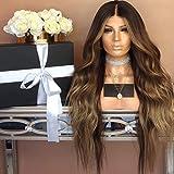 CARLAMPCR Perücke, gewellt, Lace-Front-Perücke mit Baby-Haar, Remy-Echthaar-Perücke, vorgezupfter Haaransatz, Ombre-Farbe, kleberlose Spitzen-Perücken für Frauen