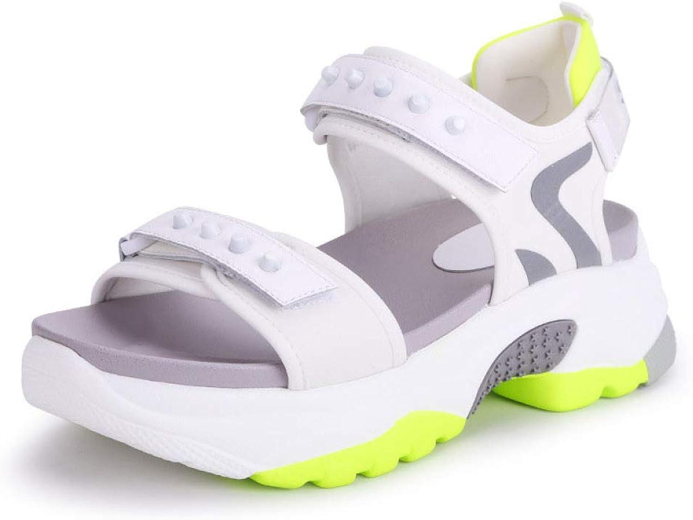 Damen Sandalen Sommer Damenschuhe, Klettverschluss, Damen Sandalen, Casual Strandschuhe,Wei,36