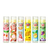 Lappy Lips Organic 100% Natural, Lip Balm Chap stick for Kids, Toddlers (6 flavors) - Organic Essential Oil - for Dry Chapped Lips to Restore and Heal and Make Kids Happy