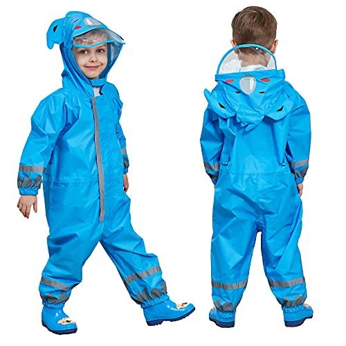 FILOWA Raincoat Kids Hooded Boys Puddle Suit Blue Animals Pattern Rainwear Muddy Suit Lightweight Portable All in One Waterproof Rainsuit Breathable PVC Transparent Hat Brim Zipper Unisex 5-7 Years