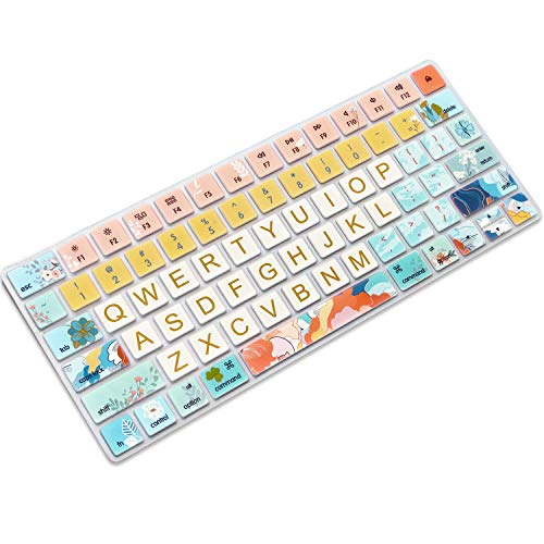 SANFORIN Keyboard Cover Skin for Apple iMac Wireless Magic Keyboard 2nd Gen MLA22LL/ A (Model: A1644), Silicone Skin Protector with Big Letter Design, US Layout, Flowers