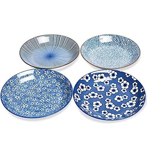 "9.1"" (23cm) Porcelain Bowl Set, 34 Ounce, Set of 4, Shallow Bowls For Pasta, Salad, Cereal, Assorted Four Classical Blue Patterns."
