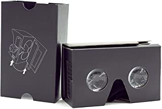 VR Cardboard Virtual Reality Headsets for 360 Videos Movies and Games DIY Kit VR Glasses for Android and iOS Within 3.5-6 inches New Version Black